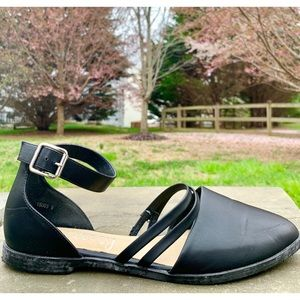 Shoes - LILLEY'S Black Ankle Strap Point-Toe Flats